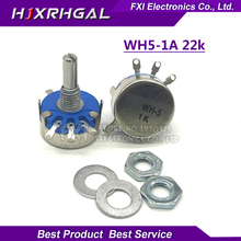 2pcs WH5-1A 22k ohm 3-Terminals Round Shaft Rotary Taper Carbon Potentiometer