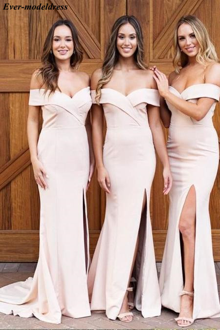 Off Shoulder Mermaid   Bridesmaid     Dresses   Long 2019 High Split Zipper Back Maid of Honor Wedding Guest Gowns estido de festa longo