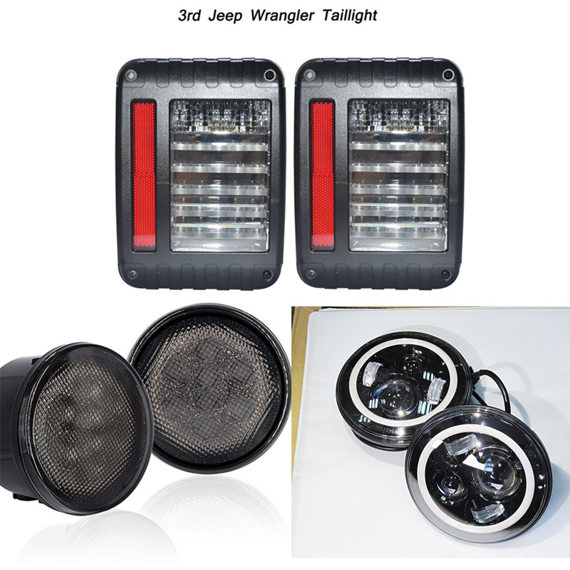 6PCS/7 Inch Eagle Lights LED Headlight Tail Light with LED Grill Turn Signal Light Kit Assembly For Jeep Wrangler JK L019 windshield pillar mount grab handles for jeep wrangler jk and jku unlimited solid mount grab textured steel bar front fits jeep
