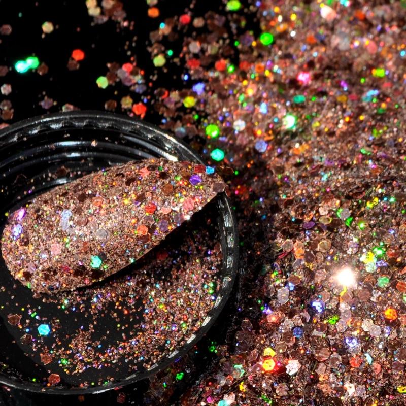 Braun Lila Staub Uv Nagel Diy Maniküre Chbj Rosa Volle Schönheit 1 Box Nail Art Decor Glitter Pulver Pailletten Pigment Licht Rot