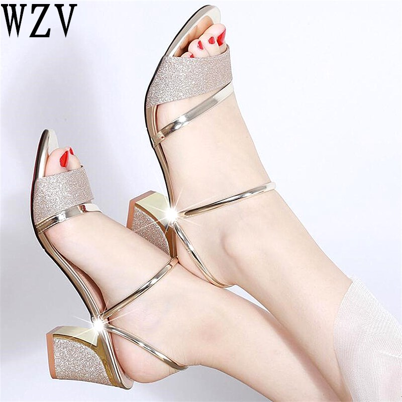 2019 Bling Women sandals fashion summer square heel women slippers women sexy open toe sandals for women E542