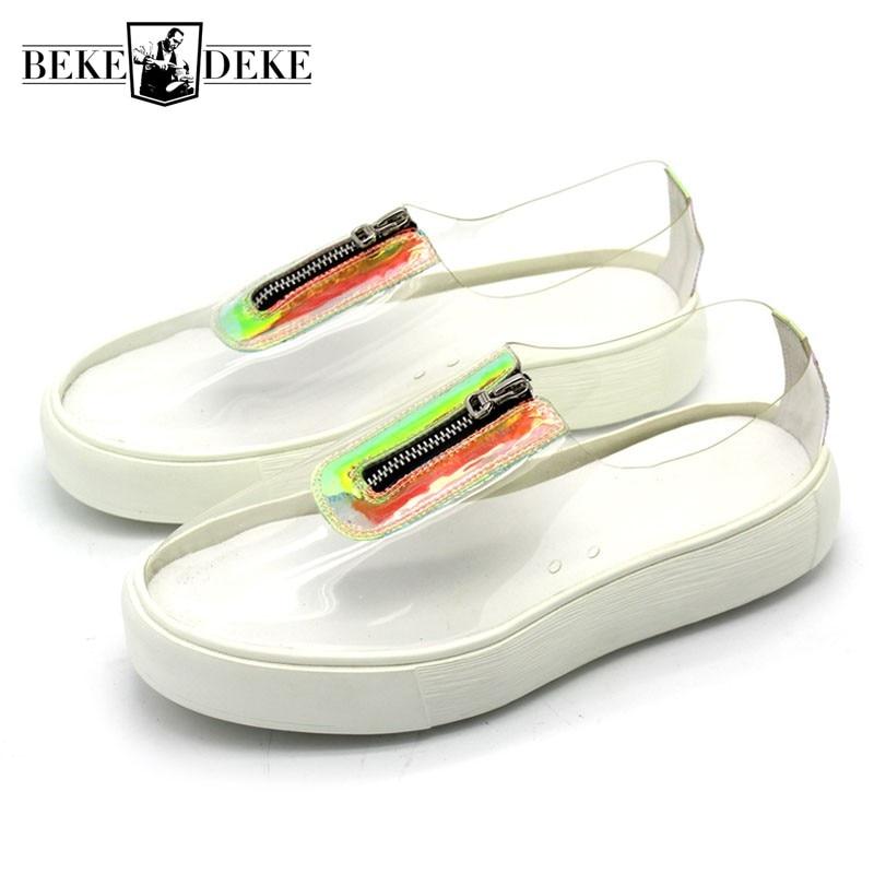 2018 New Harajuku Mens Transparent Casual Shoes Zip Designer Slip On Loafers Thick Platform Skateboard Shoes Footwear Plus Size