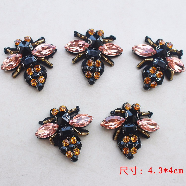 Patches Brooch Clothing-Decoration-Patch Rhinestones-Bead Applique Bees Sequins Embroidered