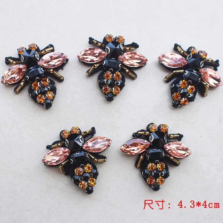 Pszczoły cekiny dżetów koralik broszka łatki aplikacja w stylu vintage haftowane tkaniny szyć na poprawki moda dekoracji dekoracji odzieży