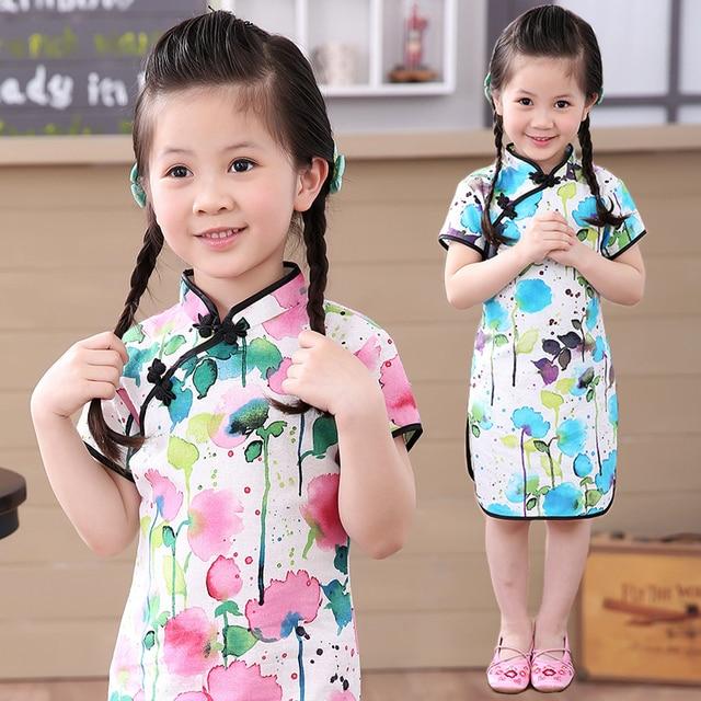 2017 chinesische mädchen kleid kleidung sommer infantis baumwolle ...