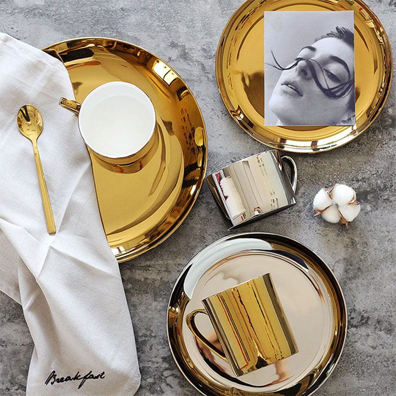 European Ceramic Gold PLATED Silver plate Ceramic Dinner Plate Bowl 8 inch 10 inch Porcelain Coffee cup Dessert Plate