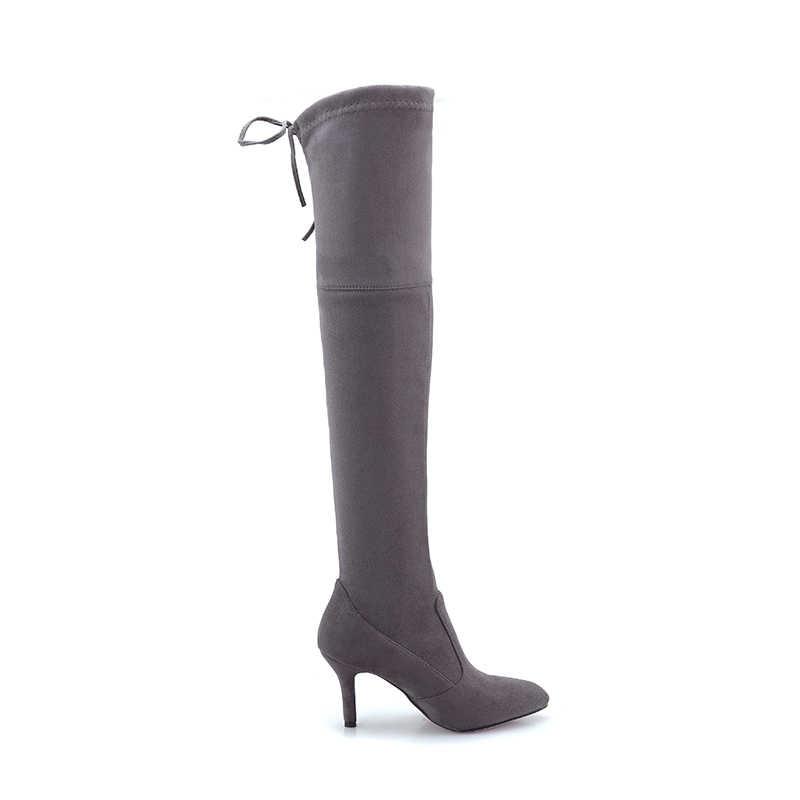 WETKISS Seksi Ince Yüksek Topuklu Kadın Çizmeler Kış Streç Çizme Sivri Burun Akın Ayakkabı Diz Parti moda bayan ayakkabı