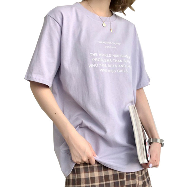 8e6b50a8d 2018 New Arrivals Fashion Korean Style Summer Women Print Loose Short Sleeve  Basic T-Shirt