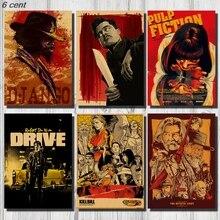 Квентин Тарантино коллекции постеров фильма, старинный крафт плакат, декоративный постер, домашний декор, наклейка на стену фильма, постер Фильм