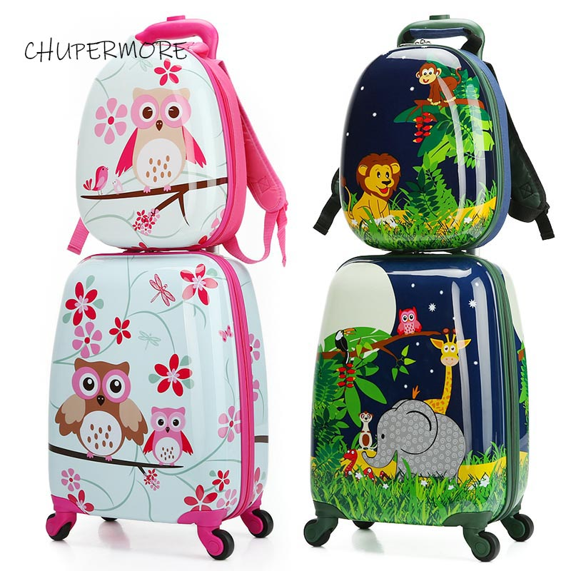 Chupermore Cute Cartoon Children Rolling Luggage Sets Spinner Multi-functional Student Kids Backpack Girl Boys Suitcase Wheels