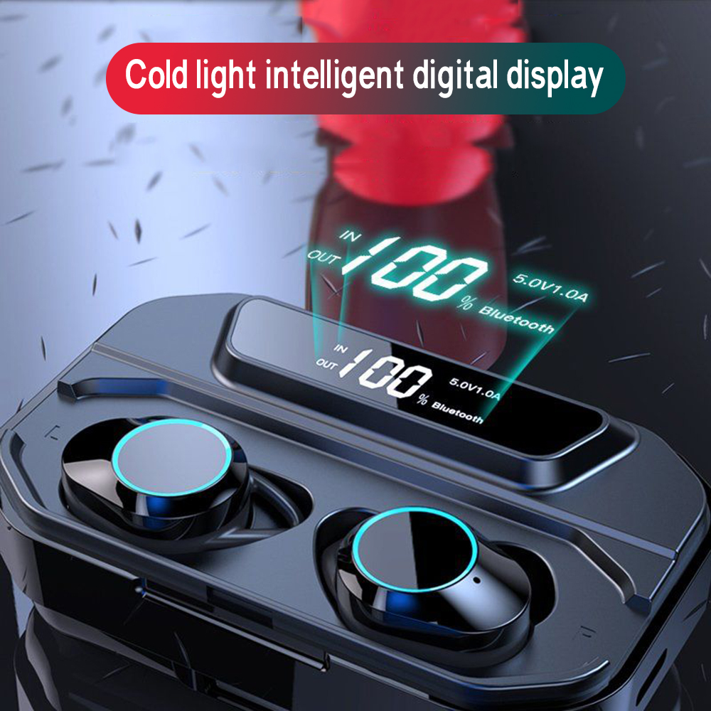 Стереонаушники G02 TWS 5,0 Bluetooth 6D, беспроводные наушники IPX7, водонепроницаемые наушники 3300 мА/ч со светодиодным дисплеем, умный внешний аккумул...