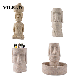 VILEAD 5 Style Stone Easter Island Moai Statuettes Pukao Figurines Easter Day Decoration Ornaments For Home Store Living Room