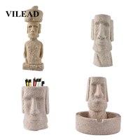 Ev ve Bahçe'ten Statü ve Heykelleri'de VILEAD 5 Tarzı Taş Paskalya Adası Moai Heykelcikler Pukao Figürleri Paskalya Günü Dekorasyon Süsler Ev Mağaza Oturma Odası