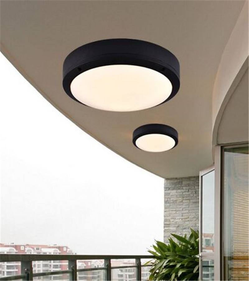 round flat led light for outside porch ceiling waterproof led ceiling lamp indoor outdoor ac85v 265v garden lights in led outdoor wall lamps from lights - Porch Ceiling Lights