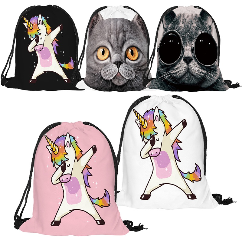 Hot Sale Cute Kid Baby Unicorn Pattern Sport Bags Swimming Bags Gym Pump Bag Sports School Drawstring Boy Girl Backpack
