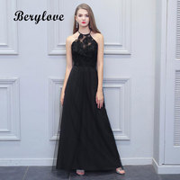 BeryLove Long Black Flowers Evening Dresses Tulle Halter Backless Prom Dresses 2018 Formal Dress Special Occasion Gown For Party