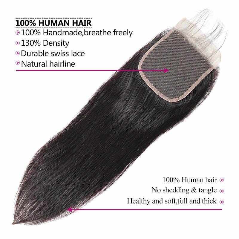 Meetu Hair4x4 средняя часть индийские прямые волосы закрытия природного роста волос не Волосы remy 8-20 дюймов Швейцарский Закрытие Кружева Детские продажа Волос