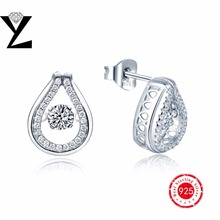 2016 Scorching Sale 925 Sterling Silver Stud Earrings Girls Equipment With AAA White Pure Dancing Stone Jewellery 925 silver Girls