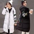 2017 Новых женских Пальто Черный Большой Плюс Размер S-XXXL Женщины Куртка С Капюшоном Мода Вставить Алфавита Длинный Отрезок Женщины Зима пиджаки