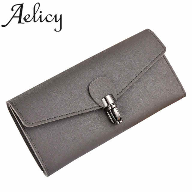 c9554ad2a998 US $5.42 40% OFF|Aelicy Large Capacity High Quality Leather Clutch  Checkbook Wallet Card Holder Purse Women Luxury Design Card Holder women  Hasp-in ...
