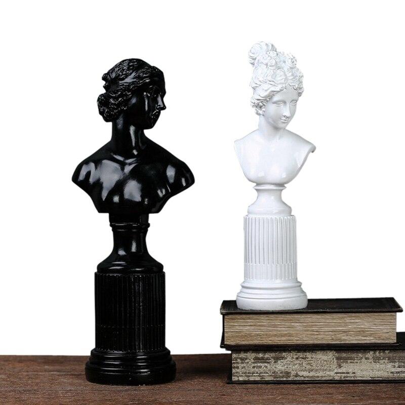 L'europe Figurines En Résine Noir et Blanc Déesse Statue Ornements Simulation Caractère Sculpture De Bureau Artisanat Home Decor Cadeaux