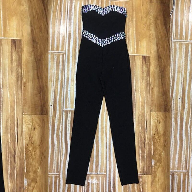 Moulante Perles Salopette Nouvelle Femmes Noir Bretelles Sexy Nu Élégant Celebrity 2018 Clubwear Mode Bandage Dos HwFUxFvqC