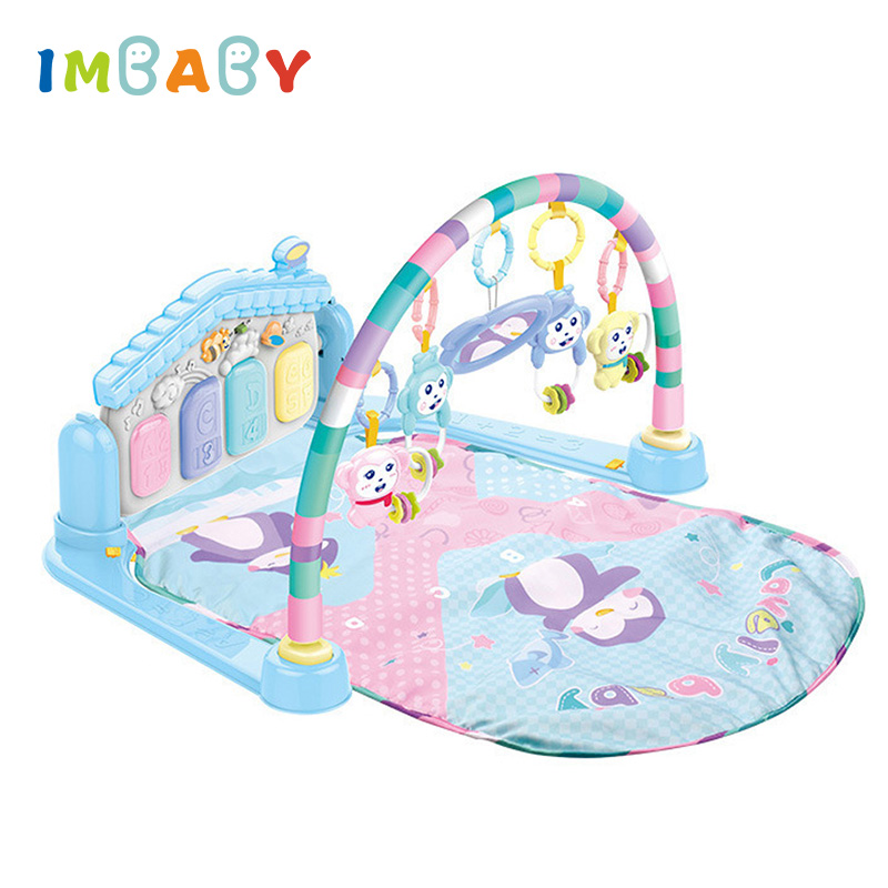 IMBABY Kick & Play Piano Fitness Gym Baby Activity Mat 2 in 1 Musical Toy Outdoor/Indoor Game Rug Blanket Playmat No Battery baby gym frame fitness play mat game pad kick play piano with pedals children music game playing gym toy for 0 1 year baby
