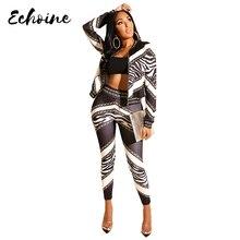 Echoine Vintage Chain Stripes Print Zipper Up Trench Top Jackets Pencil Long Pants Suits Two Piece Suit Tracksuit Outfits Women цена