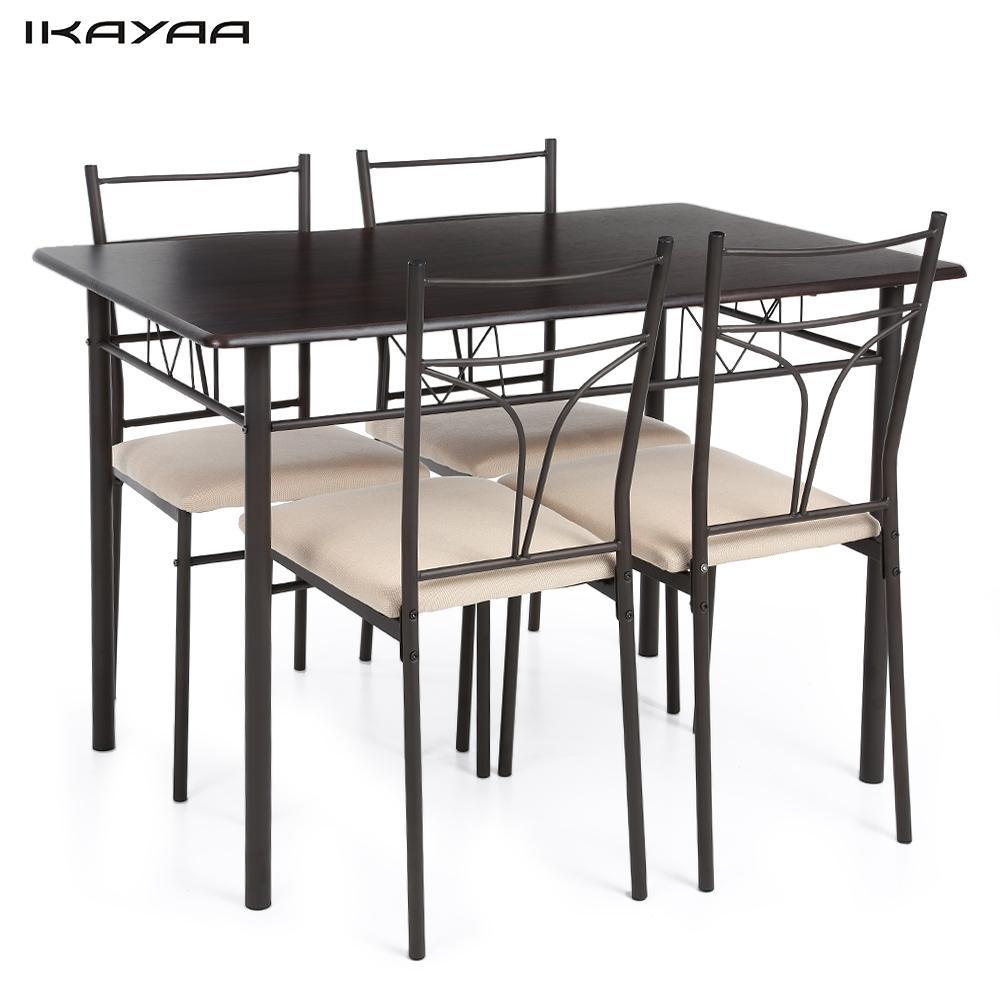 ikayaa unids de comedor conjunto de marco de metal moderno comedor sillas mesa de la