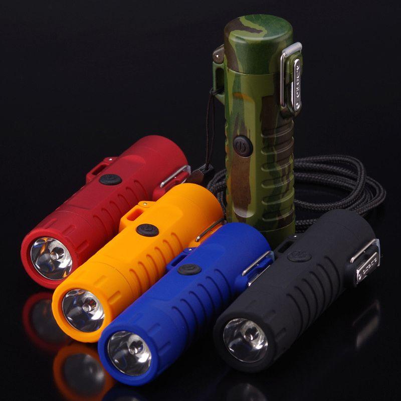 Mini USB Lade Zigarette Elektronische Dual Arc Leichter Taschenlampe Wasserdichte Wiederaufladbare Outdoor Zubehör