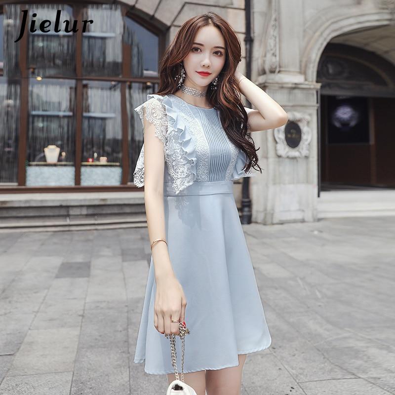 Jielur Blue Dresses Women Korean Fashion Grace Chiffon Lace S XL Sleeveless A Line Dress High Waist Sweet Summer Robe Femme 2019 in Dresses from Women 39 s Clothing
