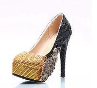 New style gold crystal wedding shoes woman ladies super high heels platforms black gold patchwork handmade crystal pumps HS150