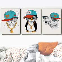 Rap Singer Dog Camel Penguin Nordic Posters And Prints Wall Art Canvas Painting Animal Pictures For Living Room Home Decor