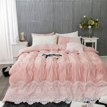 Luxury Pink Blue Gray White 100% Cotton Princess Girl Lace Bedding Set Queen King Duvet Cover Bed sheet Linen Pillowcases