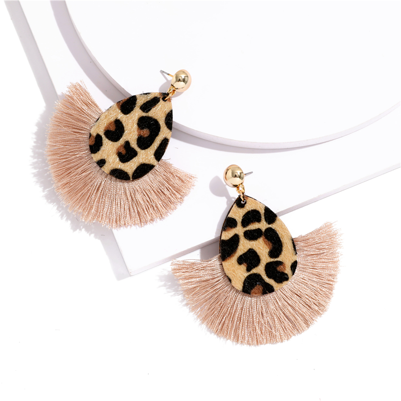 Bohemia Leopard Dangle Drop Earrings Biscuits Round Resin Cheetah Tassel Earrings for Women sector Jewelry Pendientes oorbellen 5