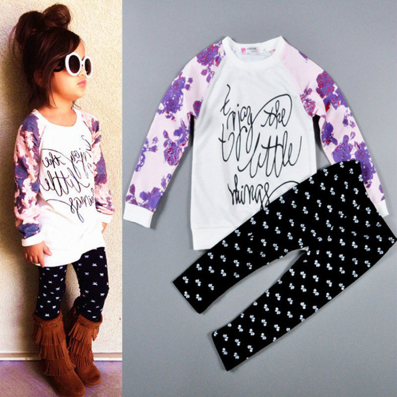 Girls Clothing Sets T-Shirts & Leggings 2 Pcs Fashion Long Sleeve Tracksuits Casual Kids Sports Suits For Girl Children Clothing