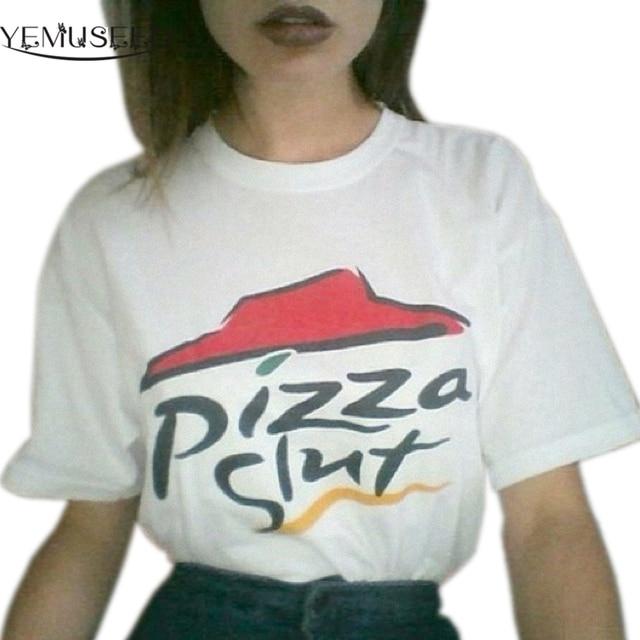 ff529ad32b0e6 YEMUSEED New Arrival Women Hot Casual Street White Tumblr Harajuku White  Printed Pizza Tee Shirts Plus Size WMT226