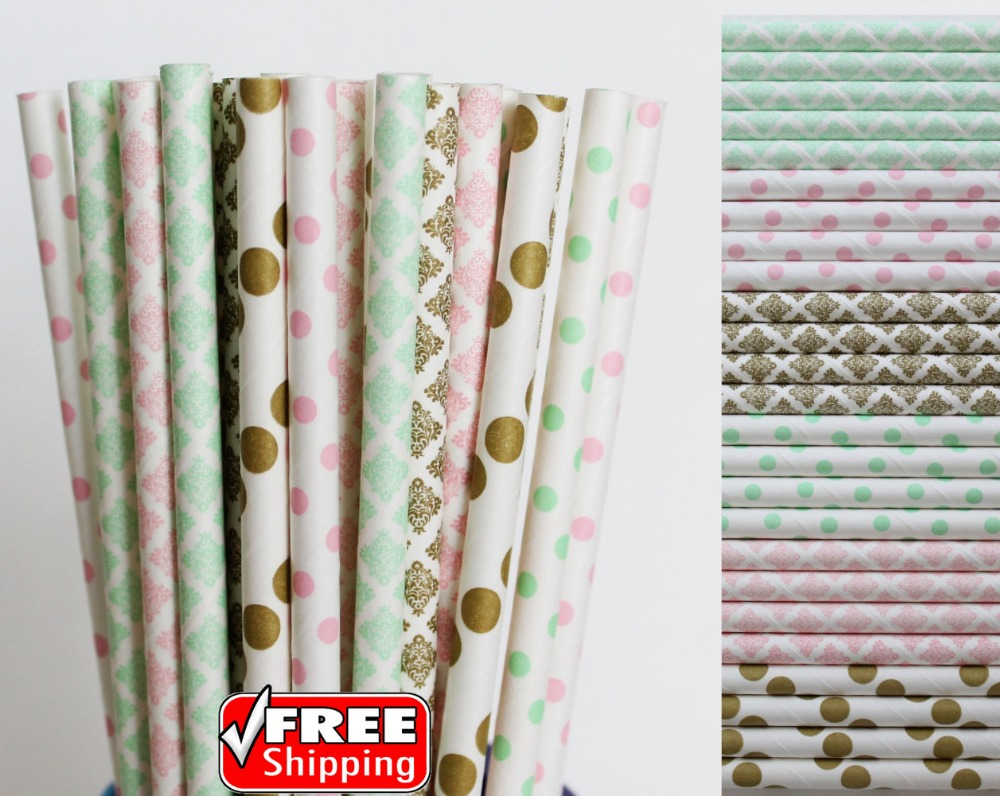 150pcs Mixed 6 Designs Pinkmint Green And Gold Themed Paper Straws