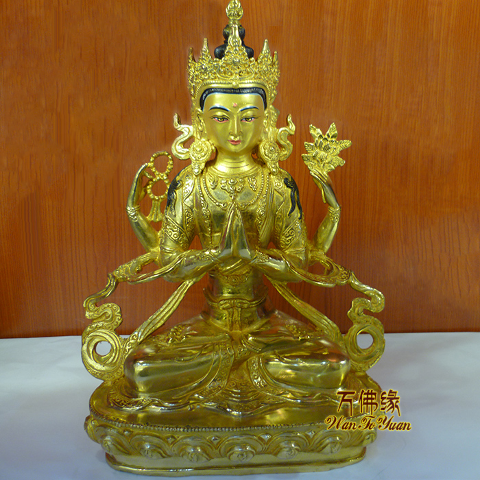 wholesale large-home family efficacious Talisman Protection # Tibetan Buddhism Four-armed Avalokitesvara gilding Buddha statuewholesale large-home family efficacious Talisman Protection # Tibetan Buddhism Four-armed Avalokitesvara gilding Buddha statue