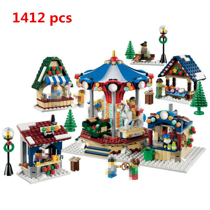 New Lepin City 36010 1412PCS Creator Winter Village Market Compatible LegoINGlys Building Blocks Bricks Toys Children Gift 10235 lepin 36010 genuine creative series the winter village market set legoing 10235 building blocks bricks educational toys as gift