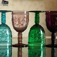 New Arrival ZAKA European Multicolor Retro Carved Glasses Red Wine Juice Glass Goblet Bars Restaurants Decorative