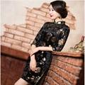 Envío Libre de Terciopelo qipao vestido Vestido Floral Pintado Artesanal Chino cheong-sam Qipao Vestido Cheongsam Otoño Ml XL XXL XXXL