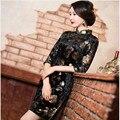 O Envio gratuito de Veludo qipao vestido Vestido Floral Pintado Artesanato Chinês Cheong-sam Qipao Vestido Cheongsam Outono M L XL XXL XXXL