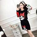 2017 la caída del otoño mujeres mickey de manga larga de invierno negro rojo camisas de punto faldas 2 unidades conjuntos femeninos de dibujos animados minnie adapte B0249