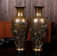 Copper Brass CHINESE crafts decoration 11 Chinese brass carved beautiful Lucky Dragon phoenix Vase Pair
