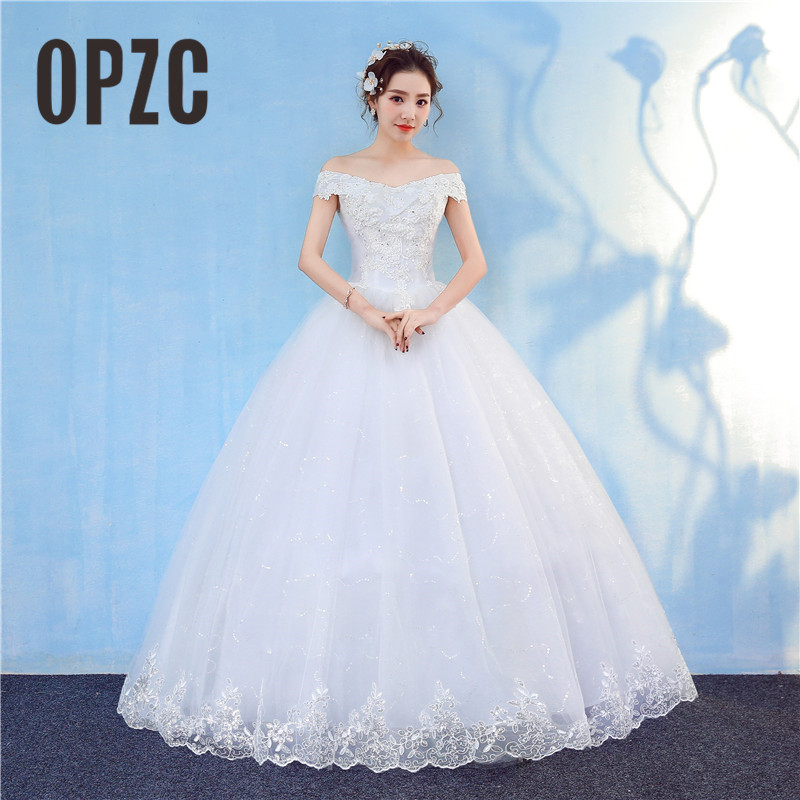 New Arrival 2018 Free Shipping Vintage Elegant Lace White Wedding Dresses Boat Neck Plus Size Ball Gown Robe De Cheap