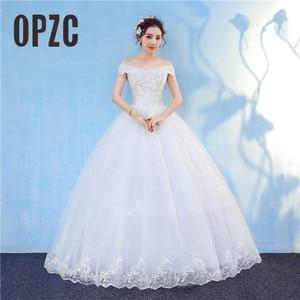 Image 1 - Nova chegada 2020 frete grátis vintage elegante rendas branco vestidos de casamento barco pescoço plus size vestido de baile robe de barato