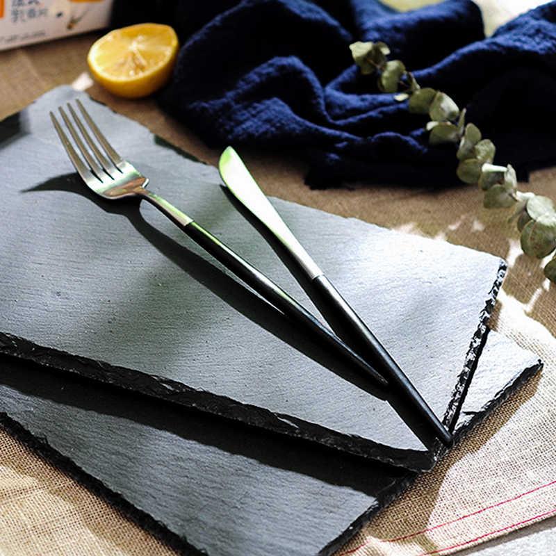 Zwart Europese single-layer slate kaas schotel decoratieve slinger disc natuurlijke slate servies schotel zwart Westerse gerecht