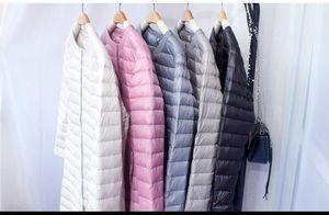 Image 5 - NewBang Chaqueta de plumón para mujer, chaqueta de plumón larga, ligera, cálida, delgada, portátil, abrigo de una botonadura