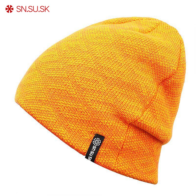SN.SU.SK Brand 9 Color New Unisex Famous Man Women Warm Winter Knitted Knitting Sports Ski Hat Beanies Turtleneck Cap